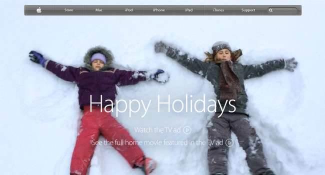 Święta na apple.com nowosci życzenia, Święta, reklama, Apple.com, Apple   Apple.com  650x350