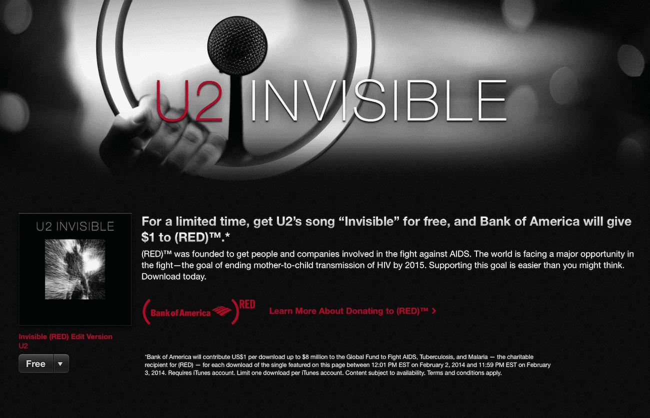 Najnowszy utwór U2 - Invisible dostępny za darmo nowosci Za darmo, U2 invisible, U2, Promocja, Muzyka, iTunes Store, iTunes, iPhone, Apple, App Store  Wyjątkowa okazja na najnowszy kawałek grupy U2. Można go ściągnąćz iTunes zupełnie za darmo. Zrzut ekranu 2014 02 02 o 23.56.29