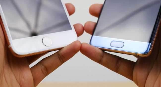iPhone 7 Plus vs Galaxy Note 7 - porównanie czytników linii papilarnych ciekawostki Youtube, Wideo, TouchID, Touch ID, Samsung, jak działa czytnik linii papilarnych w iphone 7, galaxy note 7, Film, czytnik linii papilarnych w iPhone 7, czytnik linii papilarnych w galaxy note 7  Porównań ciąg dalszy. Na YouTube pojawił się właśnie film pokazujący działanie czytnika linii papilarnych w dwóch topowych telefonach na rynku - iPhone 7 Plus oraz Samsung Galaxy Note 7. TouchID 1 650x350