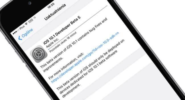 iOS 10.1 beta 5 dostępna, ale tylko dla iPhone 7 i 7 Plus polecane, ciekawostki zmiany, Update, OTA, lista zmian, jak działa iOS 10.1 beta 5, iOS 10.1 beta 5, co nowego w iOS 10.1 beta 5, co nowego, Apple, Aktualizacja  Powiem szczerze, że tego się nie spodziewałem. Dwa dni po udostępnieniu iOS 10.1 beta 4 , właśnie Apple udostępniło deweloperom mającym iPhone 7 i 7 Plus piątą już betę najnowszego iOS. Poniżej tradycyjnie znajdziecie naszą listę zmian. 101beta5 650x350