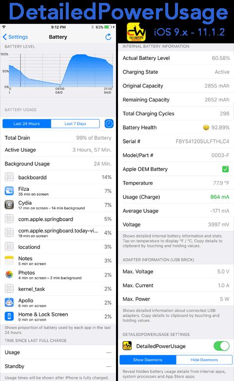 DetailedPowerUsage ma już dostęp do kondycji baterii cydia-i-jailbreak   Kondycja baterii w fazie testowej jest obecnie dostępna na iOS 11.3 i poprzednie wersje systemu operacyjnego dla urządzeń mobilnych Apple teoretycznie nie mają dostępu do tej funkcji. yDz0fbg