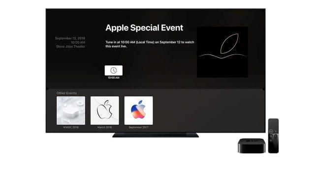 """Apple uaktualniło kanał """"Apple Events"""" w Apple TV ciekawostki prezentacja iPhone 2018, gdzie oglądać prezentację iPhone XS, gdzie oglądać, AppleTV, Apple Watch, Apple TV, Apple  Masz Apple TV i czekasz na środową konferencję na której zostaną zaprezentowane nowe iPhone'y? Jeśli tak, to mamy dla Ciebie dobre wieści. AppleTV events 650x350"""
