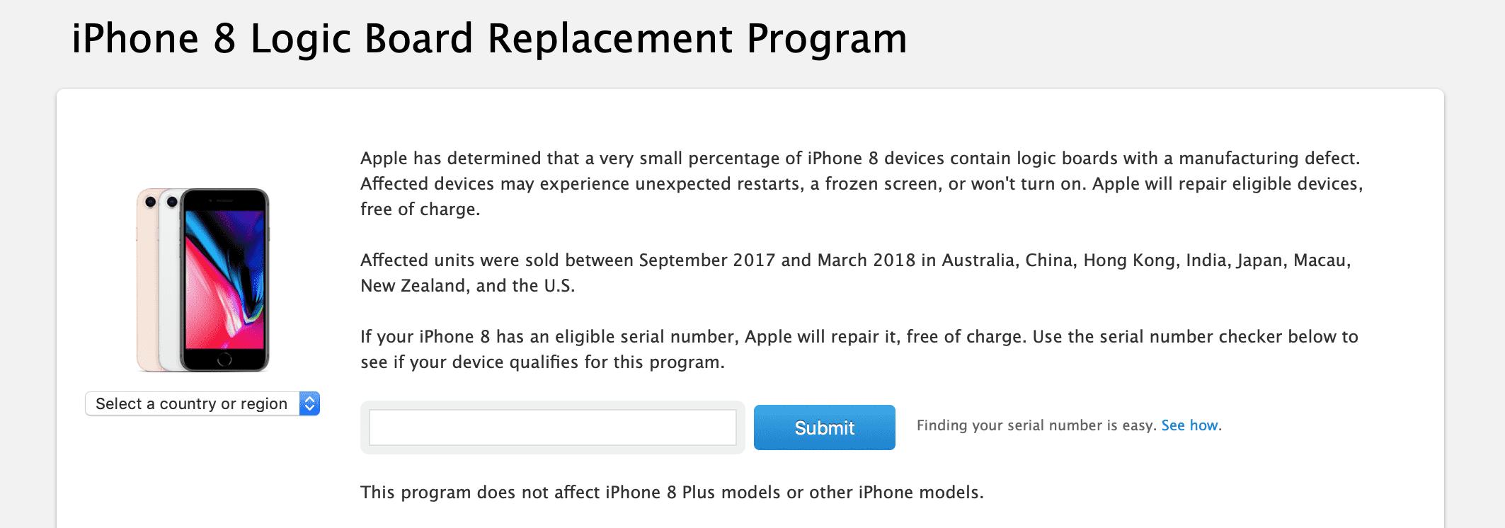 Apple uruchomiło program darmowej wymiany płyty głównej w iPhone 8 polecane, ciekawostki program wymiany płyty głównej, iPhone 8, darmowa wymiana płyty głównej, Apple  W nocy Apple uruchomiło kolejny już program naprawczy. Tym razem skierowany jest on do właścicieli iPhone?ów 8, którzy zakupili swoje iUrządzenia w okresie od września 2017 do marca 2018. iPHone8 plyta