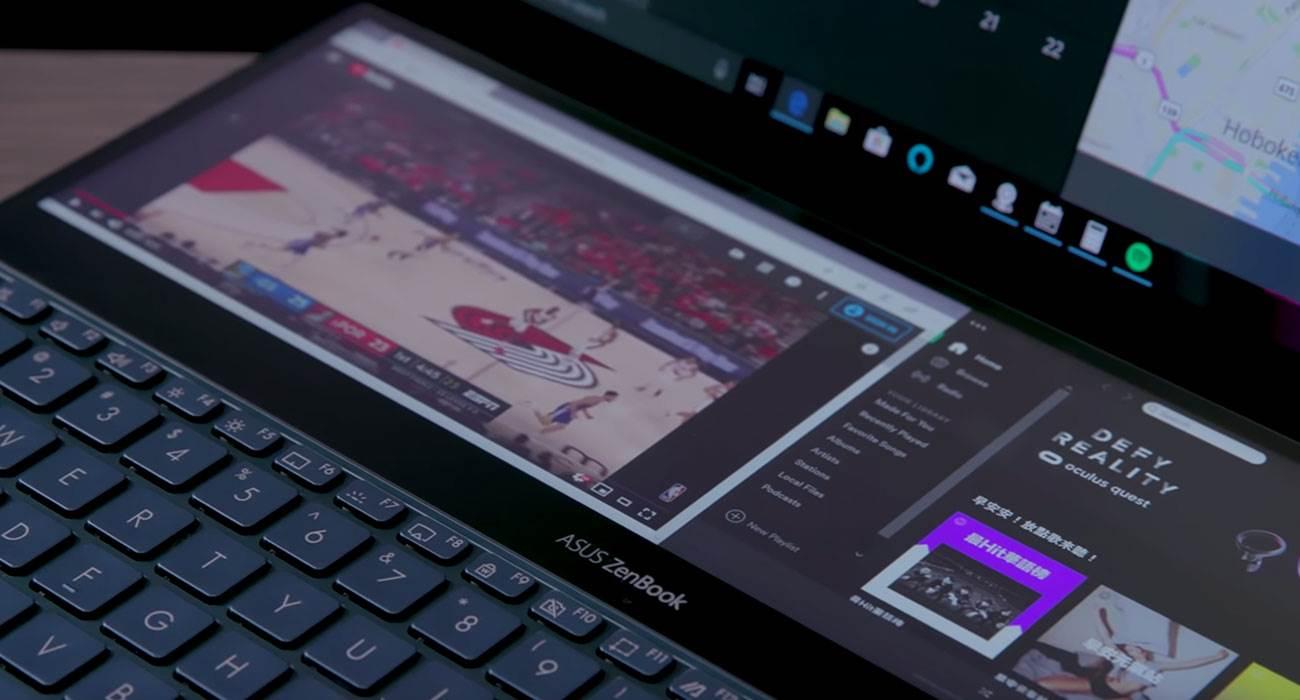 """Asus zaprezentował ZenBook Pro Duo, czyli laptop z ogromnym Touch Bar. Zobaczcie to """"cudo"""" na filmie ciekawostki ZenBook Pro Duo, Wideo, Asus ZenBook Pro Duo, Asus  Na targach Computex, Asus zaprezentował nowe urządzenie z linii ZenBook Pro Duo. Aby umieścić w laptopie gigantyczny Touch Bar, touchpad inżynierowie musieli umieścić na prawo od klawiatury. ASUS 1"""