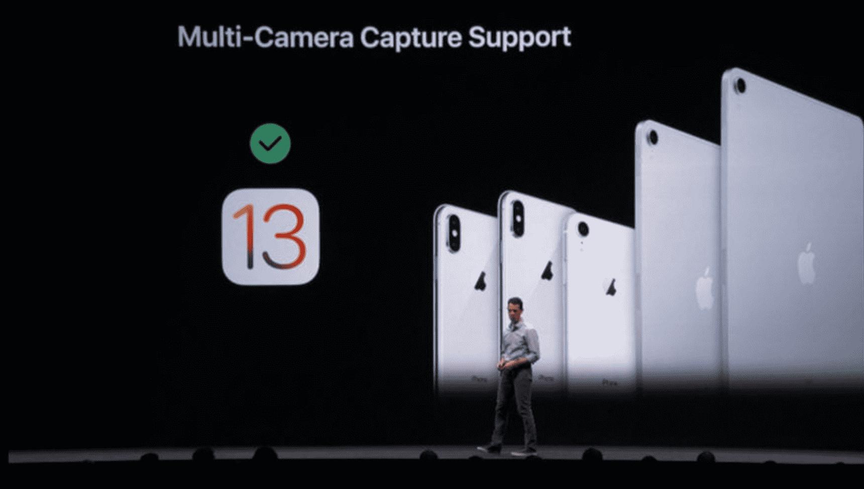 W iOS 13 będziemy mogli nagrywać wideo przy użyciu obu kamer jednocześnie polecane, ciekawostki Multi-Camera Capture Suppor, kamera, iOS 13  Kolejną nowością , która pojawi się w finalnej wersji iOS 13 będzie możliwość nagrywania wideo przy użyciu obu kamer jednocześnie. multi