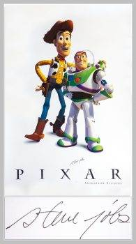 """Niezwykle rzadki plakat """"Toy Story"""" z autografem Jobsa już wkrótce trafi na sprzedaż ciekawostki toy story, Steve Jobs, plakat, Pixal  Niezwykle rzadki plakat Pixar z bohaterami ?Toy Story? Buzz i Woody, podpisany przez założyciela firmy Apple Steve Jobs, zostaną wystawione na aukcji w tym tygodniu. stevejobsposter23 195x350"""