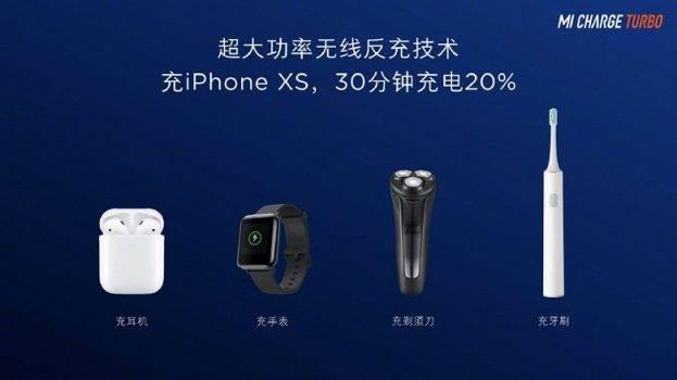 Smartfon Xiaomi 9 Pro 5G może bezprzewodowo naładować iPhone'a XS do 20% w ciągu pół godziny ciekawostki Xiaomi 9 Pro 5G, Xiaomi, Mi Charge Turbo  Smartfon Xiaomi Mi 9S Pro 5G nie został jeszcze oficjalnie zaprezentowany, ale Xiaomi odsłoniło zasłonę tajemnicy podczas swojej konferencji prasowej na temat nowej technologii ładowania bezprzewodowego Mi Charge Turbo. Mi Charge Turbo 2 623x350