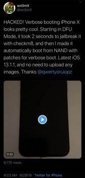 iPhone X z iOS 13.1.1 uruchomiony w trybie verbose ciekawostki iPhone X, checkmate  iPhone X nie jest zbyt starym produktem Apple, a ostatnie odkrycie w postaci exploita bootromu pokazuje, że już niebawem możemy liczyć na nowy Jailbreak. iPhone 2 168x350