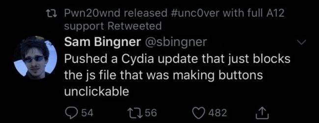 Cydia została częściowo naprawiona ciekawostki naprawa błędu, jailbreak, Cydia  Cydia instalowana za pomocą aplikacji unc0ver do Jailbreak nie działała zbyt dobrze. Nie dało się wybierać żadnych zakładek na ekranie głównym aplikacji. Cydia 650x252
