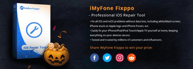 Ruszył Halloween?owy konkurs iMyFone. Do wygrania iPhone 11 i  licencje na program Fixppo polecane, ciekawostki Konkurs, iMyfone, Halloween  Z okazji zbliżającego się Halloween firma iMyFone zorganizowała specjalny konkurs w którym możecie wygrać nowiutkiego iPhone?a 11 lub licencję na program Fixppo, którego regularna cena to 54,95$. fixxpo 1 650x233