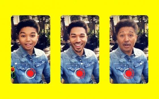 Snapchat chce powtórzyć sukces FaceApp. W aplikacji  pojawił się filtr postarzania twarzy polecane, ciekawostki Snapchat, postarzanie twarzy, filtr  Snap wprowadził w swojej aplikacji Snapchat nowy filtr postarzania twarzy, który azywa się Time Machine i pozwala zmieniać wiek w czasie rzeczywistym. snp 560x350