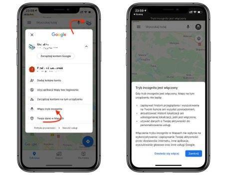 Google dodaje tryb incognito w Mapach na iOS polecane, ciekawostki tryb incognito, jak włączyć tryb incognito w mapach na iOS, Google Maps  Zapowiedziany kilka miesięcy temu tryb incognito wreszcie pojawił się w Google Maps na iOS. Funkcja dostępna jest w najnowszej wersji aplikacji. GoogleMaps 455x350