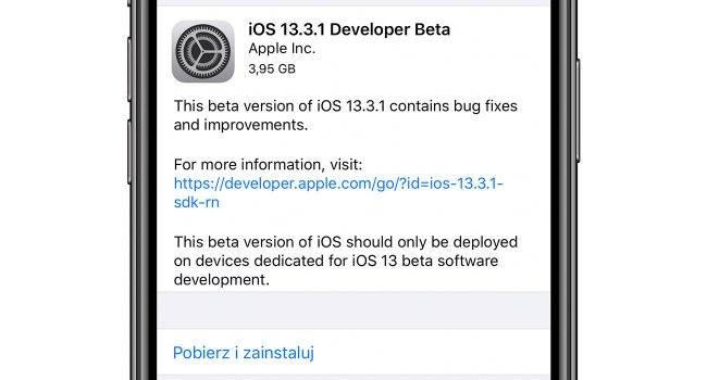 Apple udostępnia deweloperom pierwsze bety:  iOS 13.3.1, iPadOS 13.3.1, tvOS 13.3.1 i macOS 10.15.3 polecane, ciekawostki zmiany, Update, lista zmian, iPadOS 13.3.1, iOS 13.3.1, co nowego, Apple, Aktualizacja  Bardzo miła niespodzianka dla deweloperów. Właśnie, Apple udostępniło im pierwsze bety iOS 13.3.1, iPadOS 13.3.1, tvOS 13.3.1 i macOS 10.15.3. Co zostało zmienione w stosunku do wersji 13.3? iOS1331 650x350