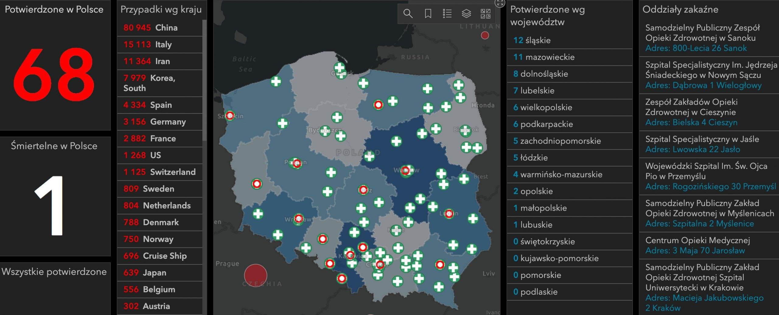 Koronawirus w Polsce. W sieci pojawiła się interaktywna mapa zachorowań na COVID-19 polecane, ciekawostki mapa online, mapa, koronawirus w polsce, koronawirus, interaktywna mapa zachorowań na koronawirusa, ilość zachorowań w polsce, COVID-19  Kilka dni temu polecaliśmy Wam aplikację na iPhone pokazującą mapę zachorowań na COVID-19 na świecie. Dziś chcemy Wam polecić mapę pokazującą gdzie stwierdzono zachorowania na COVID-19 w Polsce. korona 4 scaled