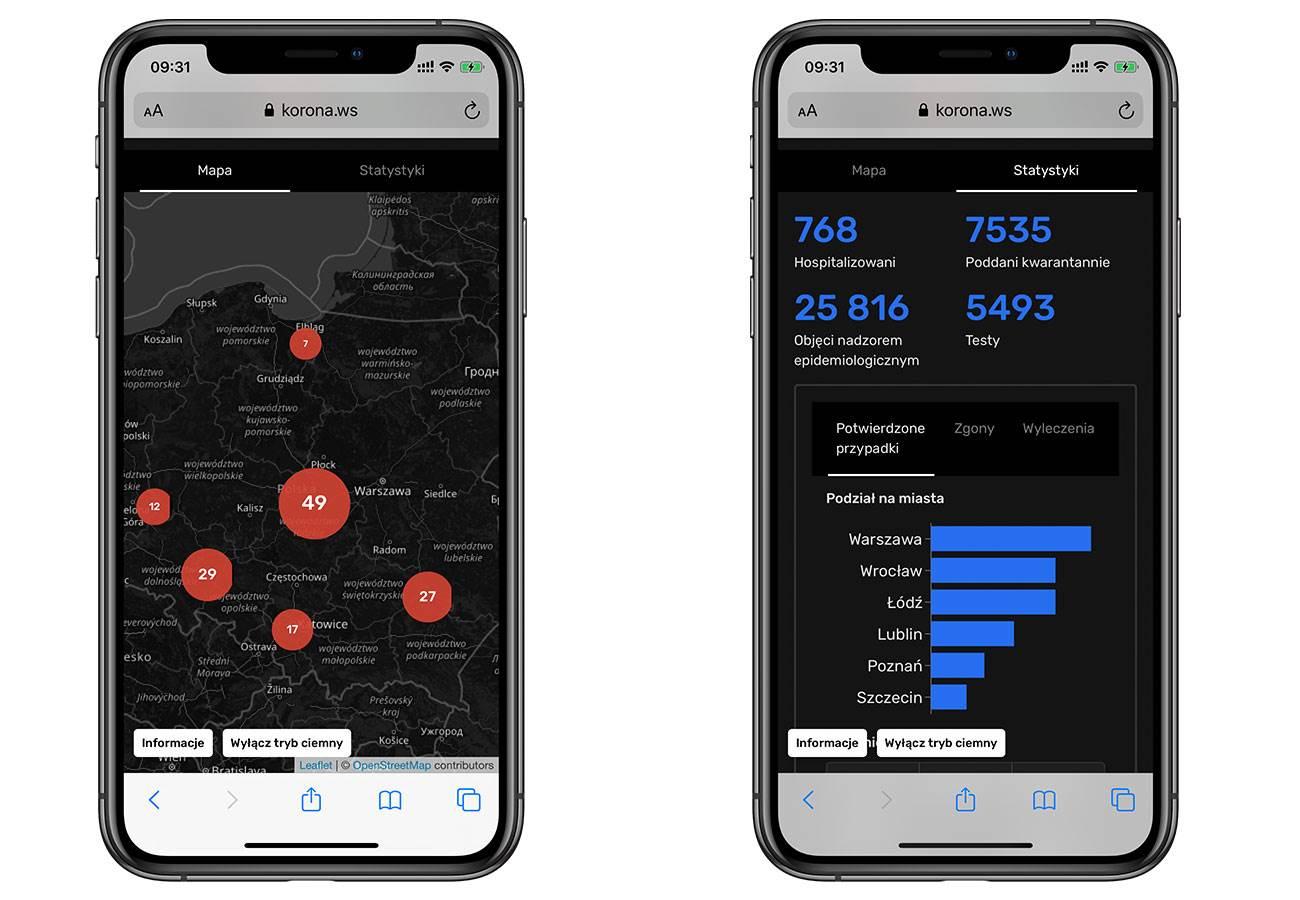 Potwierdzone przypadki koronawirusa w Polsce, zgony, wyleczenia. Zobacz najnowszą interaktywną mapę z trybem ciemnym na iPhone, iPad polecane, ciekawostki zgony, wyleczenia, mapa, koronawirus w polsce, koronawirus, iPad, interaktywna mapa, COVID-19  W sieci pojawiła się kolejna interaktywna mapa pokazująca informacje na temat koronawirusa. Mapa dotyczy tylko Polski i posiada tryb ciemny, informacje o potwierdzonych przypadkach, wyleczeniach i zgonach. koronawirus 1 1