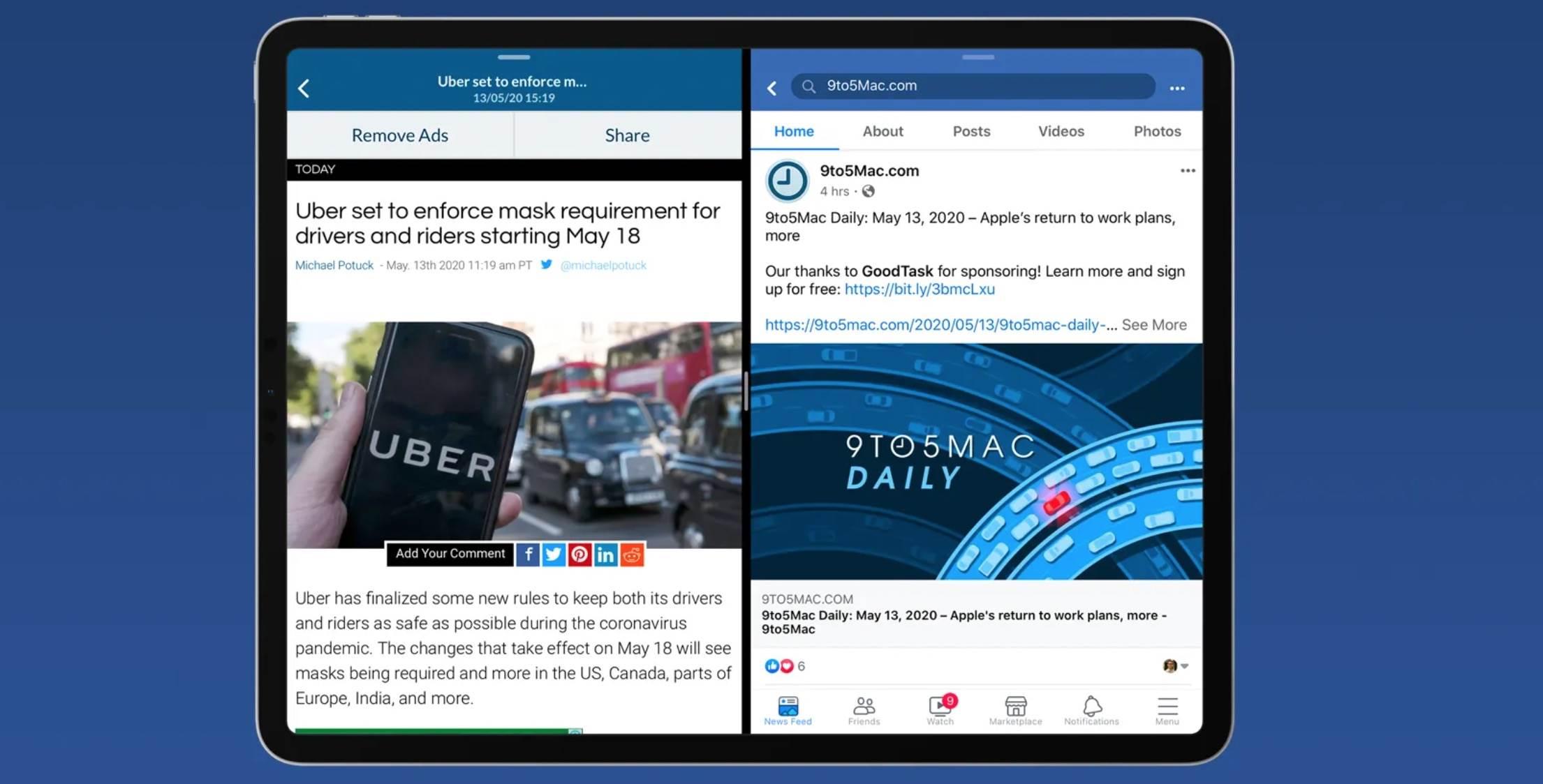 Facebook na iPad otrzymuje obsługę Split View i Slide Over polecane, ciekawostki iPad, iOS, Facebook  Facebook w końcu dodał zaawansowaną obsługę wielozadaniowości na iPadzie w swojej najnowszej wersji aplikacji. CleanShot 2020 05 14 at 10.44.47@2x