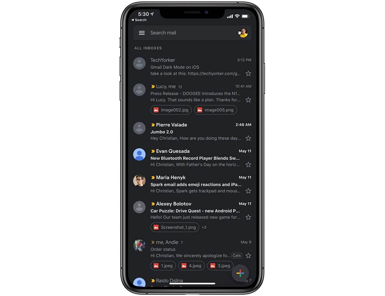 Najnowsza wersja Gmail na iOS wreszcie z trybem ciemnym polecane, ciekawostki tryb ciemny, iPhone, Gmail  Jeśli korzystacie z aplikacji Gmail na iOS i czekaliście na tryb nocny, to wreszcie się doczekaliście. gmail 1
