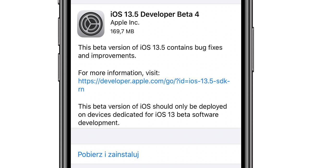 iOS 13.5 beta 4 dostępna polecane, ciekawostki zmiany, Update, lista zmian, iOS 13.5 beta 4, co nowego, Apple, Aktualizacja  Od czasu udostępnienia trzeciej bety iOS 13.5 i iPadOS 13.5 minął tydzień, więc zgodnie z tradycją Apple udostępniło dziś deweloperom czwarte bety najnowszego oprogramowania. iOS135b4 1