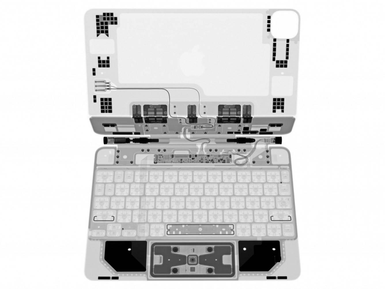 Magic Keyboard z gładzikiem dla iPad Pro prześwietlona przez iFixit polecane, ciekawostki Magic Keyboard z gładzikiem, Magic Keyboard, ifixit  We współpracy z Creative Electron specjaliści iFixit prześwietlili nową Magic Keyboard na iPada Pro i udostępnili zdjęcia wewnętrznych komponentów. ifixitipadpromagickeyboardxray