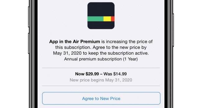 iOS zaczyna ostrzegać użytkowników o wzroście cen w subskrypcjach odnawialnych polecane, ciekawostki subskrypcja, podwyżka ceny, iOS  Firma Apple zaczęła ostrzegać użytkowników o wzroście cen subskrypcji odnawialnej. Nowa funkcja ostrzegania na iOS / iPadOS została po raz pierwszy zauważona przez Federico Viticci, który opublikował również zrzuty ekranu na Twitterze. sub 650x350