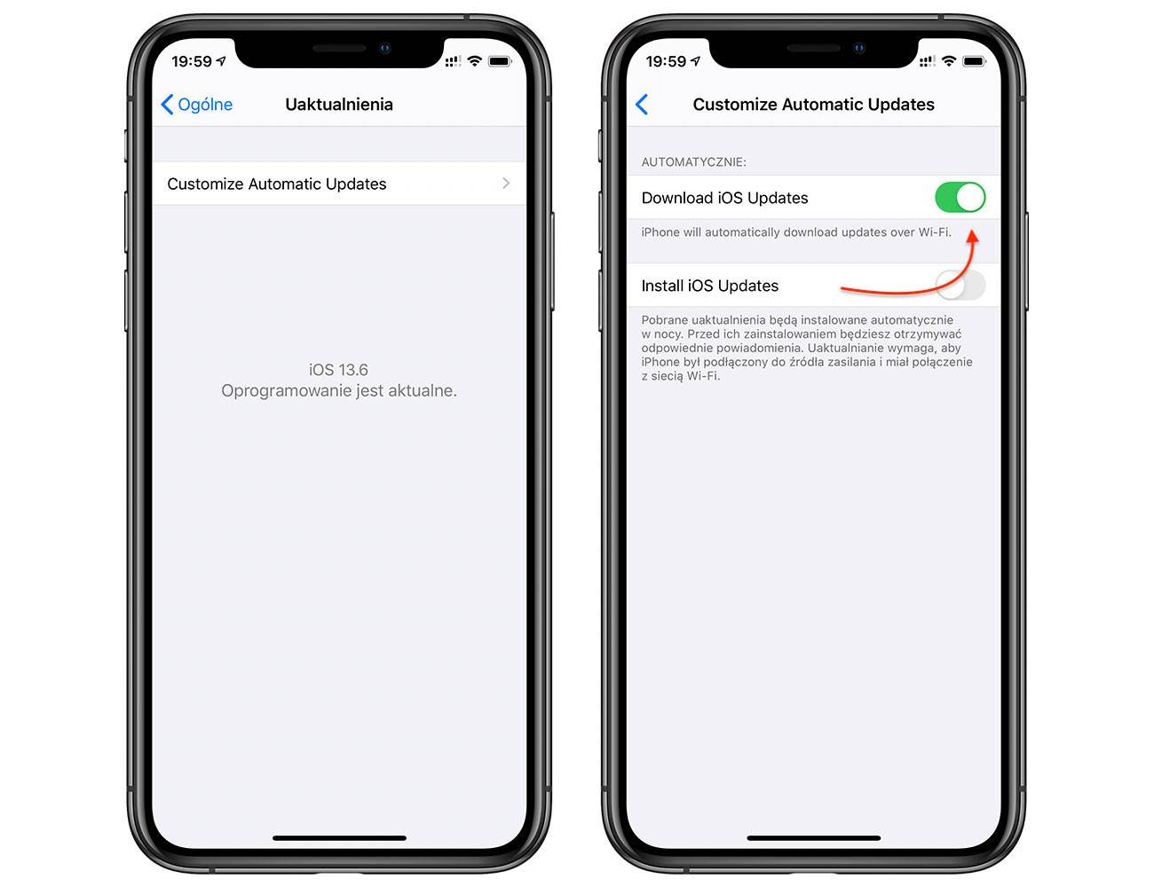 iOS 13.6 pozwala wyłączyć automatyczne pobieranie aktualizacji systemu polecane, ciekawostki wyłączenie automatycznego pobierania aktualizacji, jak wyłaczyć, iPhone, iPad, iOS 13.6, automatyczne pobieranie aktualizacji  W iOS 13.6 beta 2 pojawiła się długo wyczekiwana innowacja - przełącznik, który wyłącza automatyczne pobieranie aktualizacji oprogramowania układowego. iOS13.6 aktualizacja