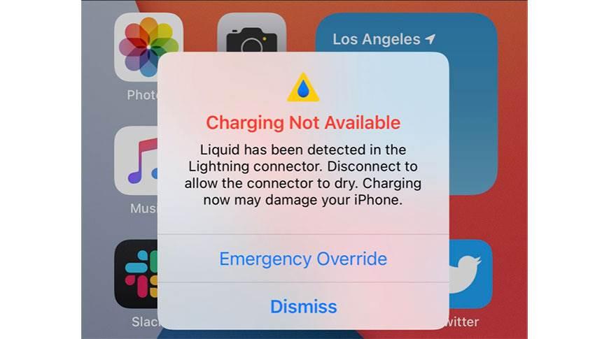 iOS 14 umożliwia ładowanie iPhone, nawet gdy system wykryje wodę w porcie Lightning polecane, ciekawostki woda w lightning, iPhone, iOS 14  W pierwszej wersji beta iOS 14 programiści odkryli nową funkcję, która pozwala zignorować ostrzeżenie o płynie w złączu Lightning i naładować smartfon.  iOS14 ciecz