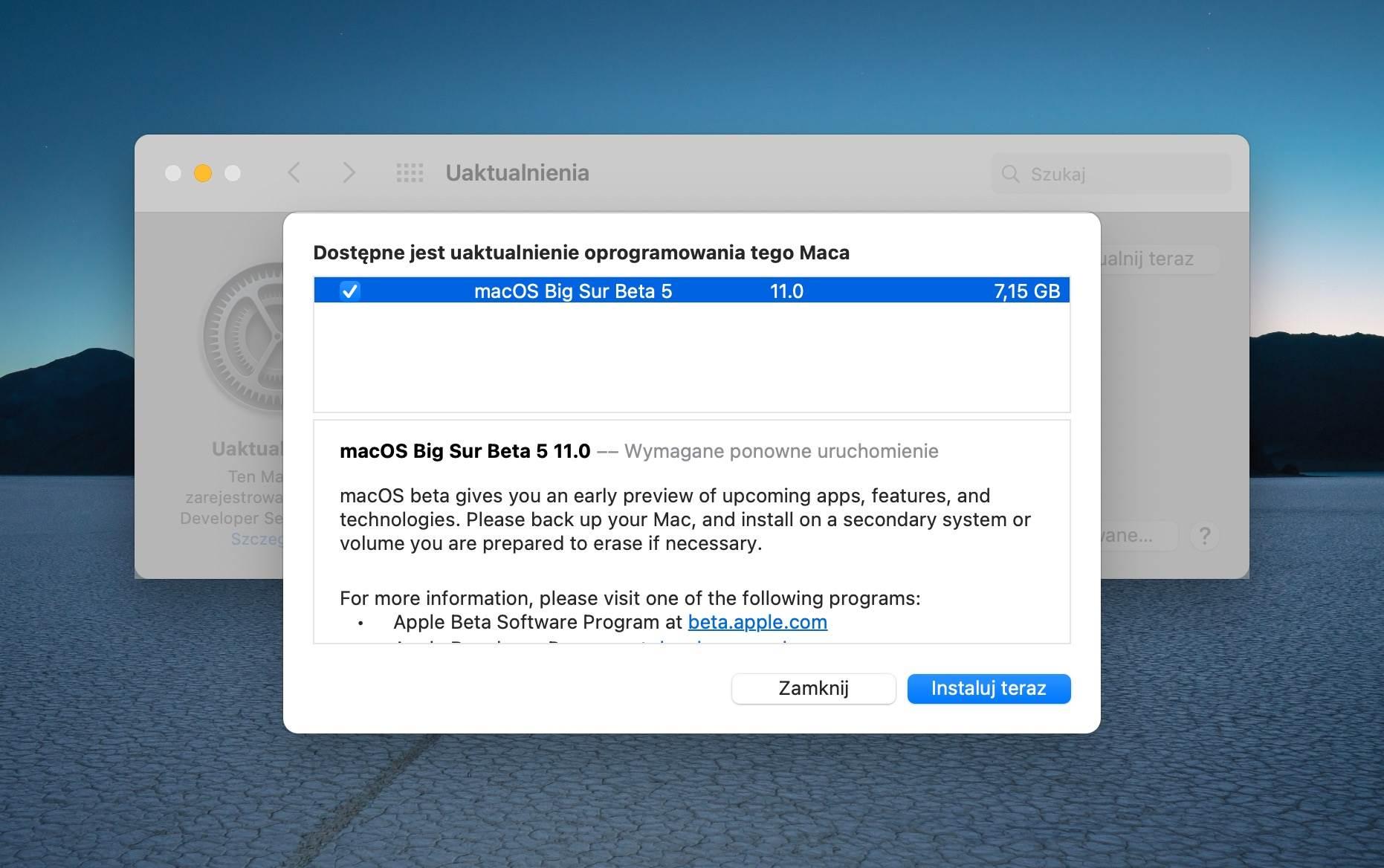 macOS Big Sur beta 5 dostępna dla deweloperów polecane, ciekawostki macOS Big Sur beta 5, macOS Big Sur beta, lista nowosci, co nowego  Dosłownie kilka minut temu firma Apple udostępniła deweloperom piątą już wersję beta systemu macOS Big Sur. 1@2x 7