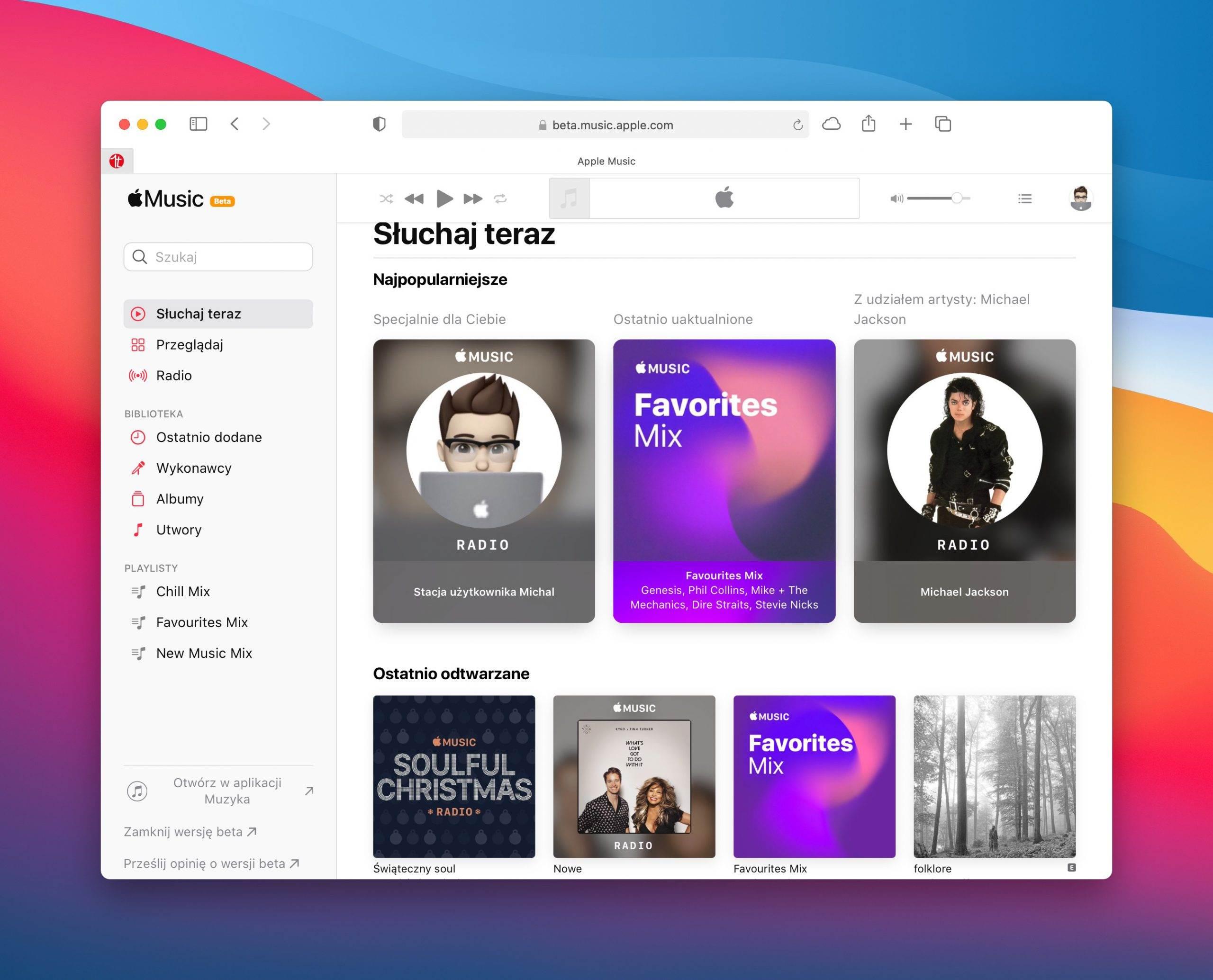 Apple Music beta w przeglądarce ma nowy wygląd polecane, ciekawostki big sur, Apple Music beta  Apple uruchomiło nową wersję beta usługi Apple Music w przeglądarce. Strona ma nowy wygląd i jest podobna do iOS 14 i macOS Big Sur. AppleMusic 1 scaled