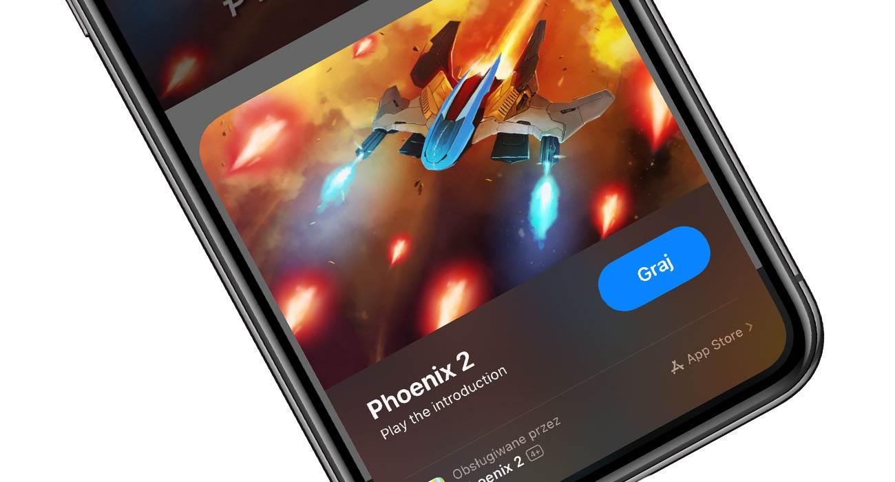Sprawdź jak działa App Clips i zagraj w demo gry Phoenix 2 polecane, ciekawostki wycinki aplikacji, Phoenix 2, iOS 14, App Clips  Jedną z nowości w iOS 14 jest App Clips. Jest to funkcja, która umożliwia przetestowanie gry bez konieczności jest instalacji z App Store. Phoneix2