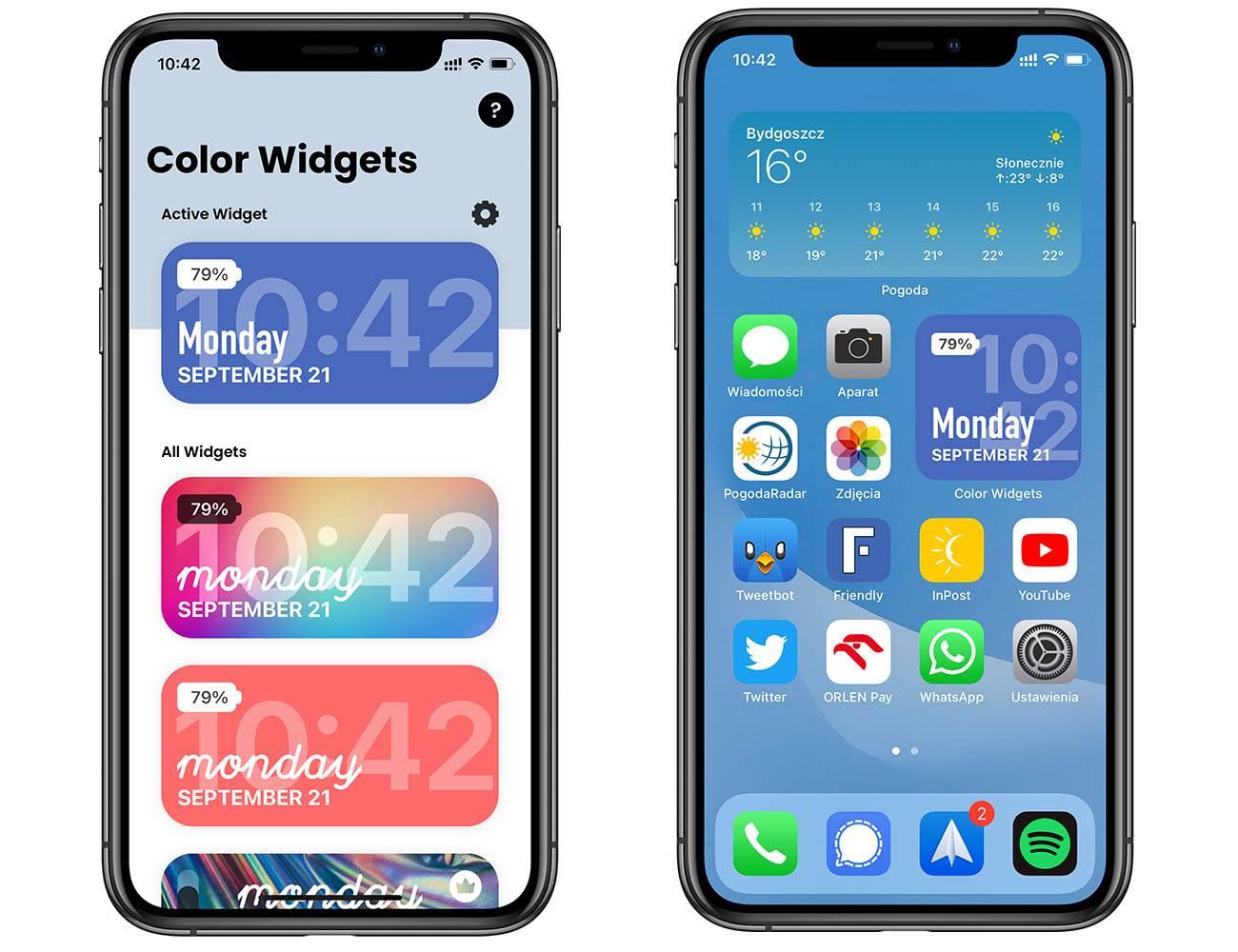 Color Widget - darmowy widżet pokazujący aktualny procentowy stan baterii iPhone'a polecane, ciekawostki Widget, status baterii, stan baterii, procentowy stan baterii, procentowy poziom baterii, procent baterii w widgecie, procent, poziom baterii w widgecie, poziom baterii, iPadOS 14, iOS 14  Color Widget to obowiązkowa aplikacja dla wszystkich użytkowników iPhone od modelu X wzwyż w których jak wiemy procentowy stan baterii został ukryty. widget bateria