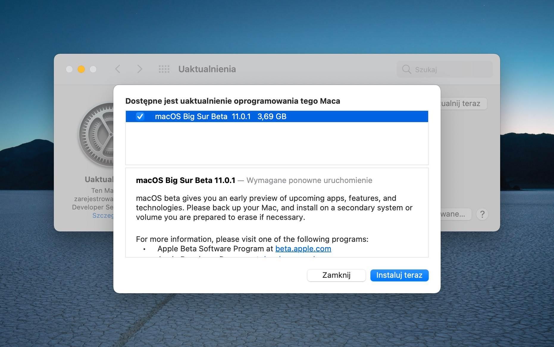 Apple udostępnia deweloperom pierwszą betę macOS 11.0.1 polecane, ciekawostki macOS Big Sur 11.0.1, lista nowosci, co nowego  Firma Apple udostępniła programistom pierwszą wersję beta najnowszego systemu macOS Big Sur 11.0.1. bigsur10.0.1
