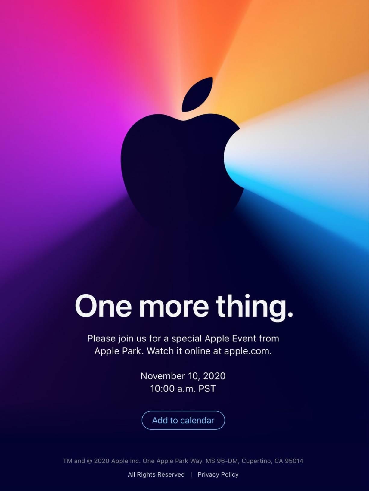 """Apple zaprasza na konferencję """"One more thing"""", która obędzie się 10 listopada 2020 roku polecane, ciekawostki One more thing, konferencja, Apple  Firma Apple ogłosiła dzisiaj trzecie jesienne wydarzenie 2020 roku, które odbędzie się we wtorek, 10 listopada o godzinie 19 w kampusie Apple Park w Cupertino w Kalifornii. 1@2x 2"""