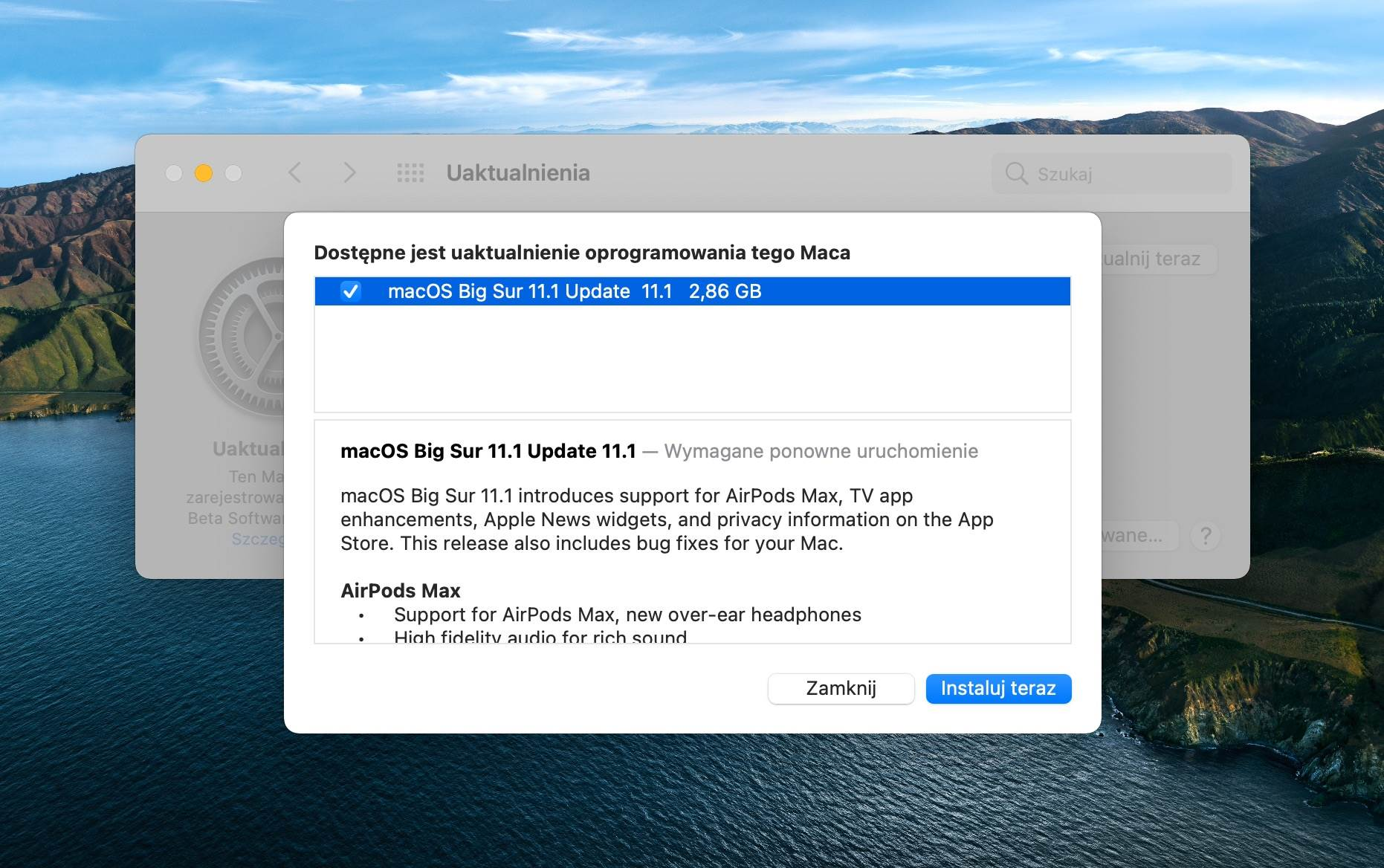 Apple wydało aktualizację macOS Big Sur 11.1 RC polecane, ciekawostki macOS Big Sur beta, macOS Big Sur 11.1 RC, lista nowosci, co nowego  Dziś oprócz drugiej wersji iOS 14.3 RC i iPadOS 14.3 RC, Apple udostępniło deweloperom także drugą wersję RC systemu macOS Big Sur 11.1. 1 6@2x