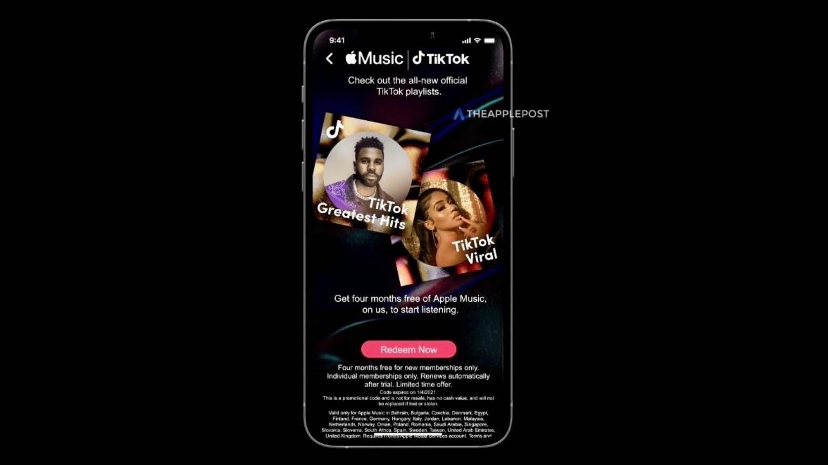 Użytkownicy TikTok mogą bezpłatnie korzystać z Apple Music przez 4 miesiące polecane, ciekawostki Za darmo, TikTok, Apple music  Apple Post poinformował, że TikTok daje 4 bezpłatne miesiące subskrypcji Apple Music nowym użytkownikom. 1@2x 6