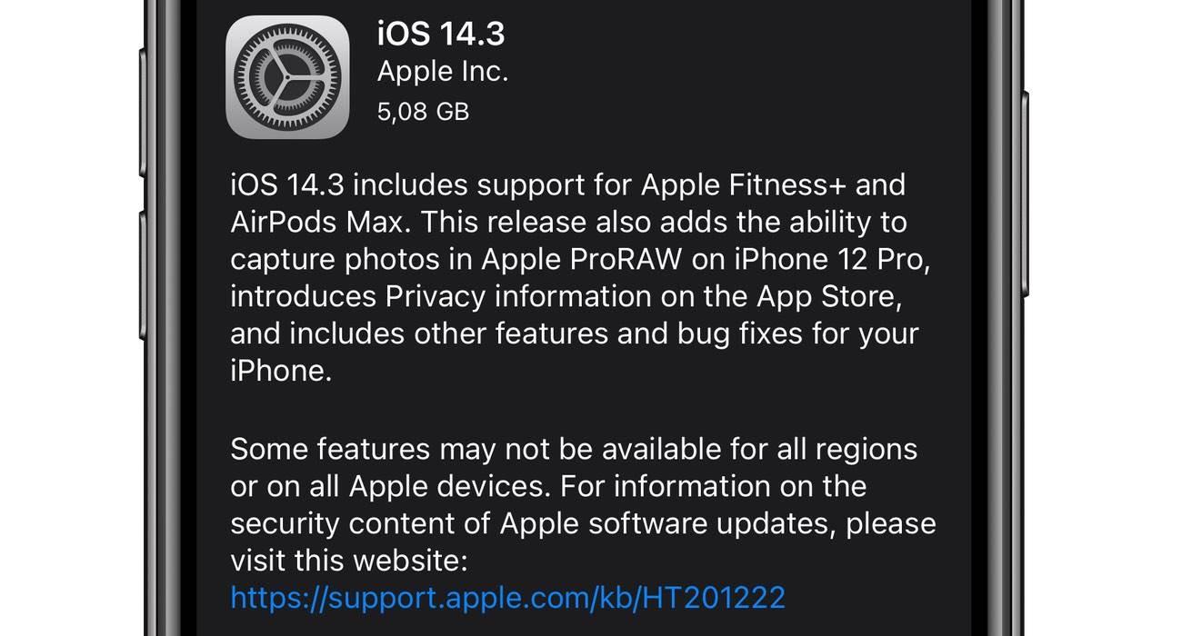 Apple udostępnia iOS 14.3 i iPadOS 14.3 - lista zmian polecane, ciekawostki Update, OTA, Nowości, lista zmian, iPhone, iPadOS 14.3, iOS 14.3, co nowego w iOS 14.3, Apple, Aktualizacja  Zgodnie z wcześniejszymi zapowiedziami właśnie teraz, Apple udostępniło wszystkim użytkownikom nowe systemy - iOS 14.3 oraz iPadOS 14.3. iOS14.3 1