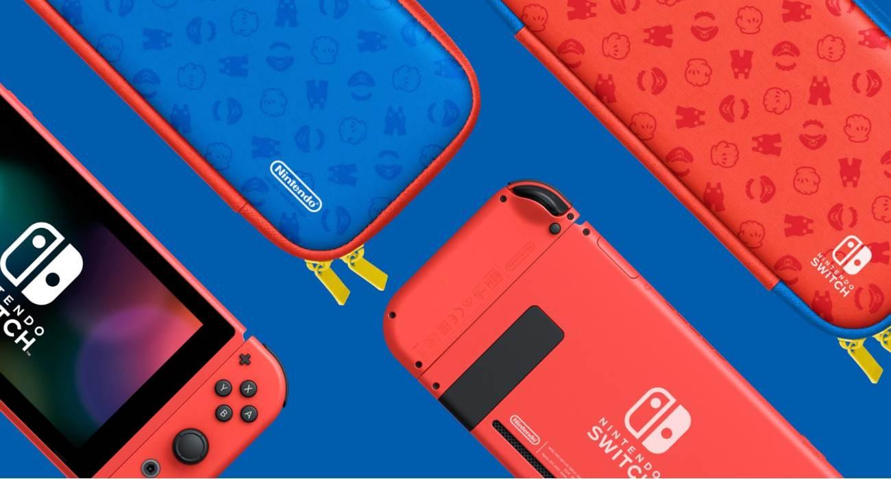 Nintendo wypuściło specjalną wersję konsoli Switch w kolorze czerwonym i niebieskim na cześć Mario ciekawostki Nintendo Switch Super Mario Bros, Nintendo, Mario Bros  Japońska firma Nintendo ogłosiła limitowaną edycję konsoli Switch Mario Red & Blue Edition, aby uczcić 35.rocznicę powstania Super Mario Bros. Nintendo