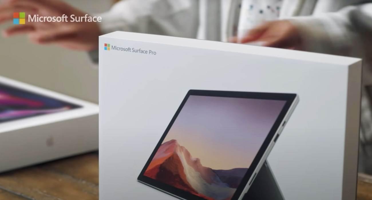 Microsoft śmieje się z Apple w nowej reklamie Surface Pro 7 polecane, ciekawostki Surface Pro 7, Apple  Firma Microsoft udostępniła na swoim kanale YouTube nową reklamę zatytułowaną ?Microsoft Surface Pro 7: The Best Choice?, w której firma porównuje swój tablet do 13-calowego MacBooka Pro z chipem M1. Surface