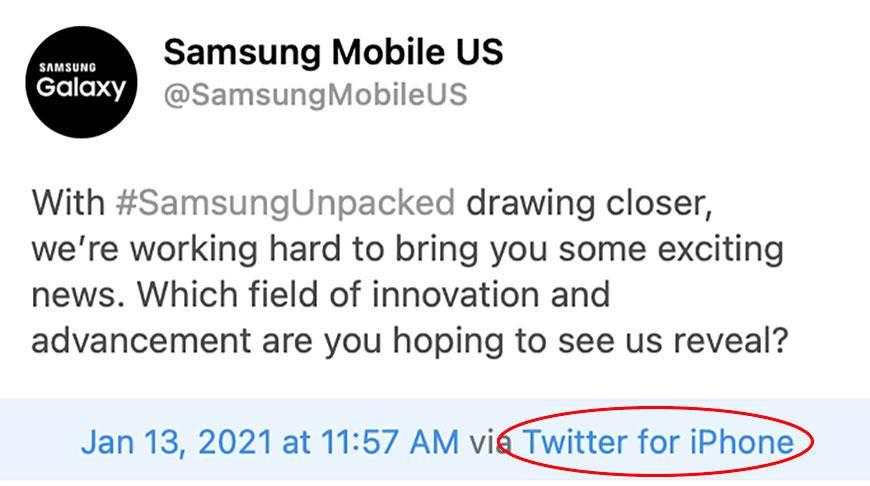 Kolejna wpadka Samsunga na Twitterze polecane, ciekawostki wpadka, Samsung  Na oficjalnym koncie amerykańskiego oddziału Samsung Mobile na Twitterze pojawił się wpis na temat zbliżającej się prezentacji Galaxy S21. Wszystko byłoby ok poza jednym małym szczegółem. sams q