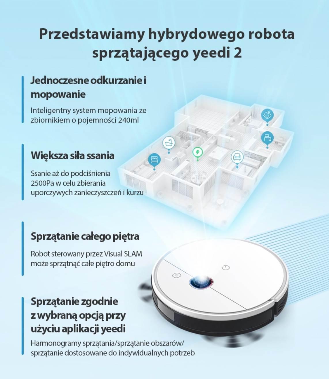 Najnowszy robot sprzątający yeedi 2 hybrid z funkcją mapowania już w sprzedaży polecane, ciekawostki yeedi 2 hybrid, yeedi, robot sprzątający, Promocja, odkurzacz, cena  Autonomiczne roboty sprzątające na dobre zagościły w naszych domach. Jeszcze do niedawna wysoka cena tych urządzeń i słabość rozwiązań technicznych sprawiały, że był to ciekawy gadżet dla fanów nowych technologii, ale nie koniecznie sprzęt codziennego użytku. yeedi2