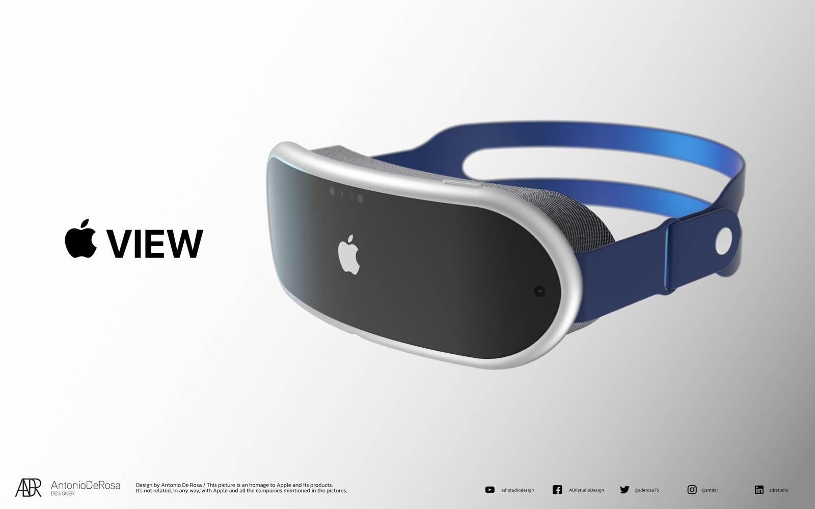 Tak mogą wyglądać gogle Apple do rzeczywistości mieszanej polecane, ciekawostki okulary AR, gogle AR od Apple, gogle Apple  Projektant Antonio De Rosa stworzył wysokiej jakości rendery pokazujące możliwy wygląd gogli Apple do rzeczywistości mieszanej.  gogle Apple 1