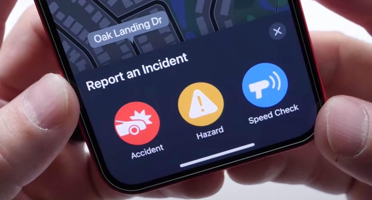 Systemowa apka Mapy w iOS 14.5 otrzymała możliwość zgłaszania kontroli prędkości, wypadków i innych utrudnień na drodze polecane, ciekawostki zgłoś wypadek, pomiar prędkości, mapy w iOS 14.5, iOS 14.5, Apple  Kolejną nowością w iOS 14.5 o której jeszcze nie pisaliśmy, a warto o tym wspomnieć jest możliwość zgłaszania kontroli prędkości, wypadków i innych utrudnień na drodze w systemowej aplikacji Mapa. iOS14.5 mapy