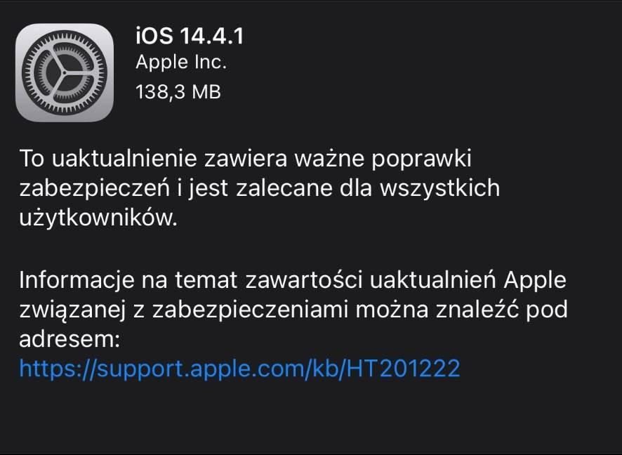 Apple udostępnia iOS 14.4.1 i iPadOS 14.4.1 - lista zmian polecane, ciekawostki Update, OTA, Nowości, lista zmian, iPhone, ipadOS 14.4.1, iOS 14.4.1, co nowego w iOS 14.4.1, Apple, Aktualizacja  Świetna wiadomość dla użytkowników iPhone, iPad. Właśnie w tej chwili, Apple udostępniło wszystkim użytkownikom nowe systemy - iOS 14.4.1 oraz iPadOS 14.4.1. 1@2x
