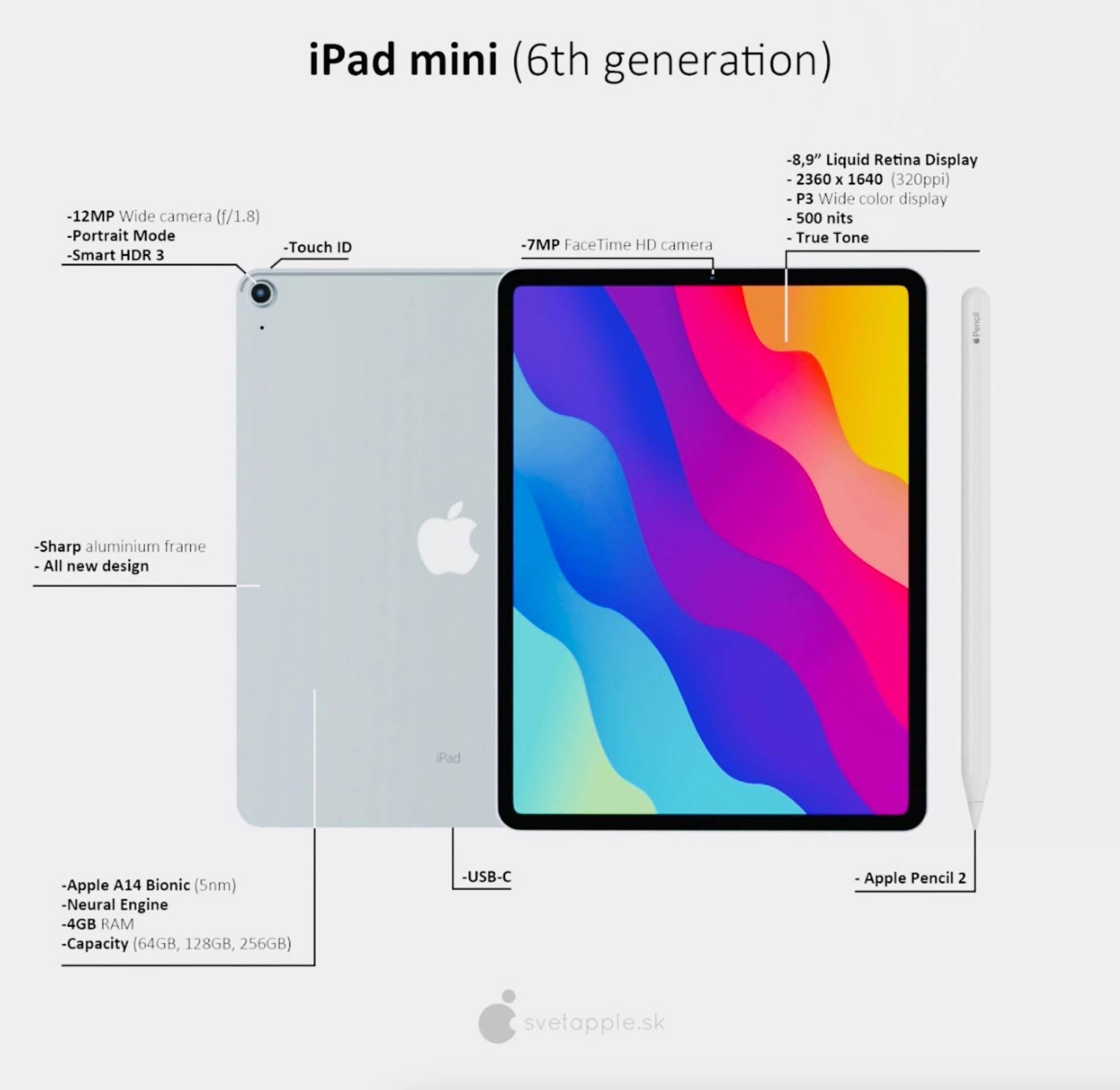 W sieci pojawiły się pierwsze rendery iPad mini 6. generacji (2021) w stylu iPad Pro polecane, ciekawostki iPad mini 6.generacji, iPad mini 6, iPad mini 2021, Apple  Od kilku miesięcy mówi się o tym, że Apple pracuje nad nowym iPadem mini. Na podstawie wszystkich dotychczasowych plotek i przecieków powstała koncepcja 8,9-calowego iPad mini 6. generacji. iPadmini 2021 3