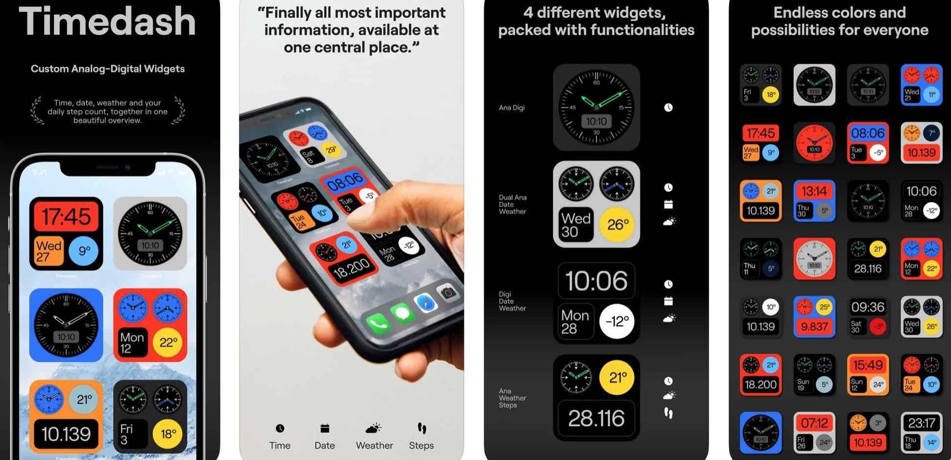 Timedash, czyli fantastyczne widżety z datą i godziną inspirowane zegarkami z lat 70 polecane, ciekawostki widgety, Timedash, iPadOS 14, iOS 14  Studio projektowe TIN stworzyło aplikację, która wprowadza mnóstwo widżetów z datą i godziną na iOS 14 i iPadOS 14. widgety 1