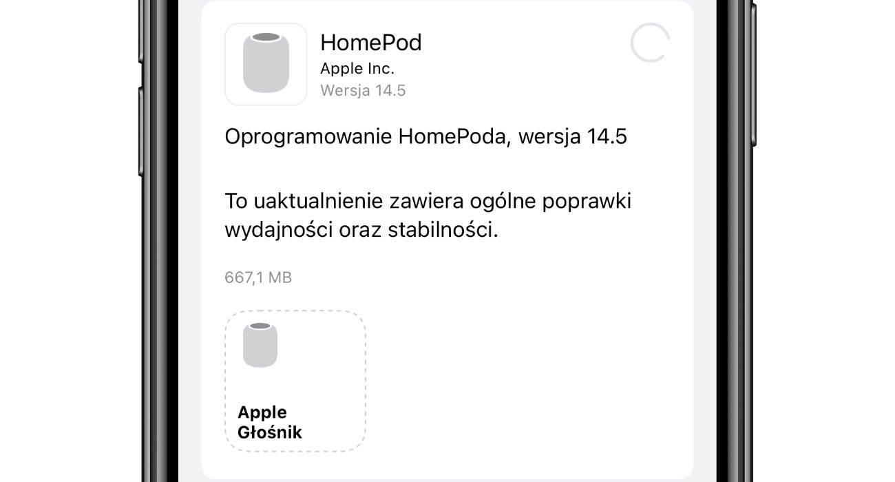System 14.5 dla HomePod i HomePod mini dostępny. Oto lista zmian i nowości polecane, ciekawostki zmiany, system 14.5, Nowości, lista zmian, homepodos, homepod mini, HomePod 14.5, HomePod, audioOS, Aktualizacja, 14.5  Jesteś właścicielem HomePod lub HomePod mini? Jeśli tak to od wczoraj czeka na Ciebie w aplikacji Dom nowa wersja systemu dla inteligentnych głośników Apple oznaczona numerem 14.5. HomePod 14.5