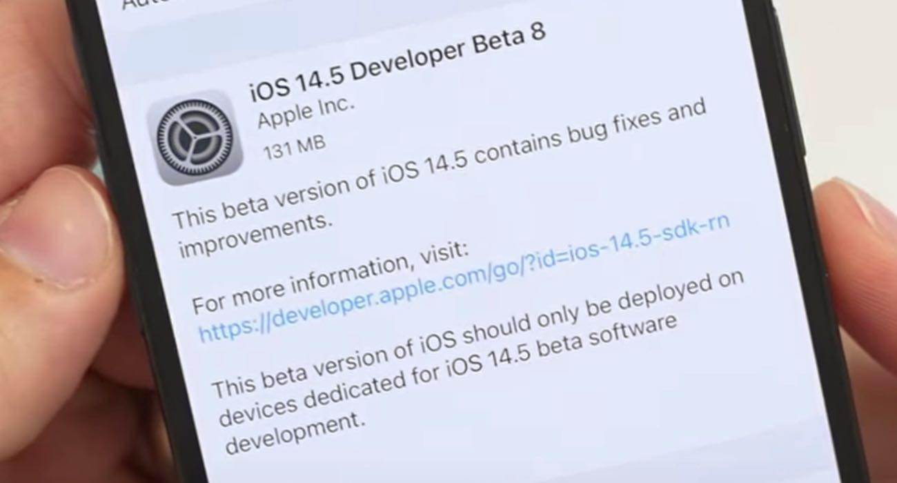 Ósme bety systemów iPadOS 14.5 / iOS 14.5 dostępne polecane, ciekawostki zmiany, Update, OTA, lista zmian, iOS 14.5 beta 8, Apple, Aktualizacja  Bardzo miła niespodzianka dla wszystkich beta testerów. Właśnie w tej chwili Apple udostępniło im nowe systemy. Dziś są to: iOS 14.5 beta 8 oraz iPadOS 14.5 beta 8. iOS1.45beta8