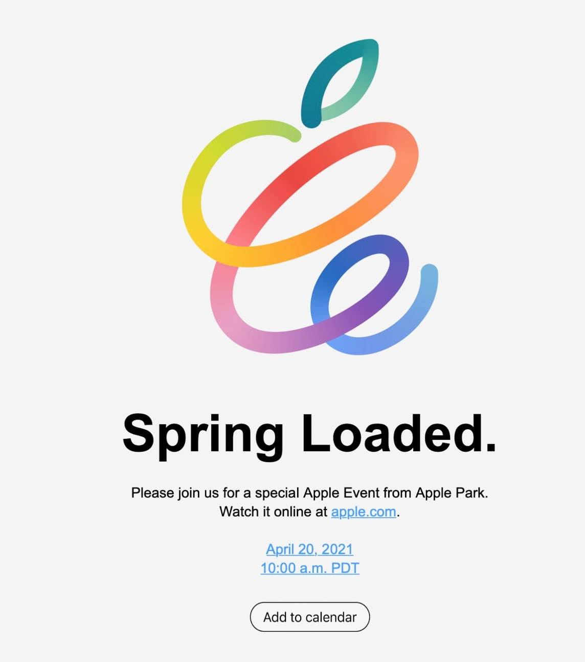 Oficjalnie: Apple zaprasza na wirtualną konferencję 20 kwietnia polecane, ciekawostki wiosenna konferencja, Apple  No i stało się. Jest to już oficjalna pochodząca od Apple informacja. Wiosenna konferencja odbędzie się we wtorek 20 kwietnia 2021 roku. konfa 1