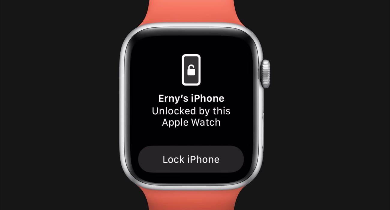 Jak odblokować iPhone?a za pomocą Apple Watch, gdy nosimy maskę ciekawostki Wideo, odblokowanie iPhone za pomoca Apple Watch, odblokowanie iPhone gdy mamy maskę, maska, jak odblokować iPhone za pomocą Apple Watch, iOS 14.5, Apple Watch  Jedną z najbardziej oczekiwanych innowacji w iOS 14.5 jest z pewnością automatyczne odblokowywanie iPhone'a za pomocą Apple Watch, gdy nosimy maskę.  odblokowanie 1