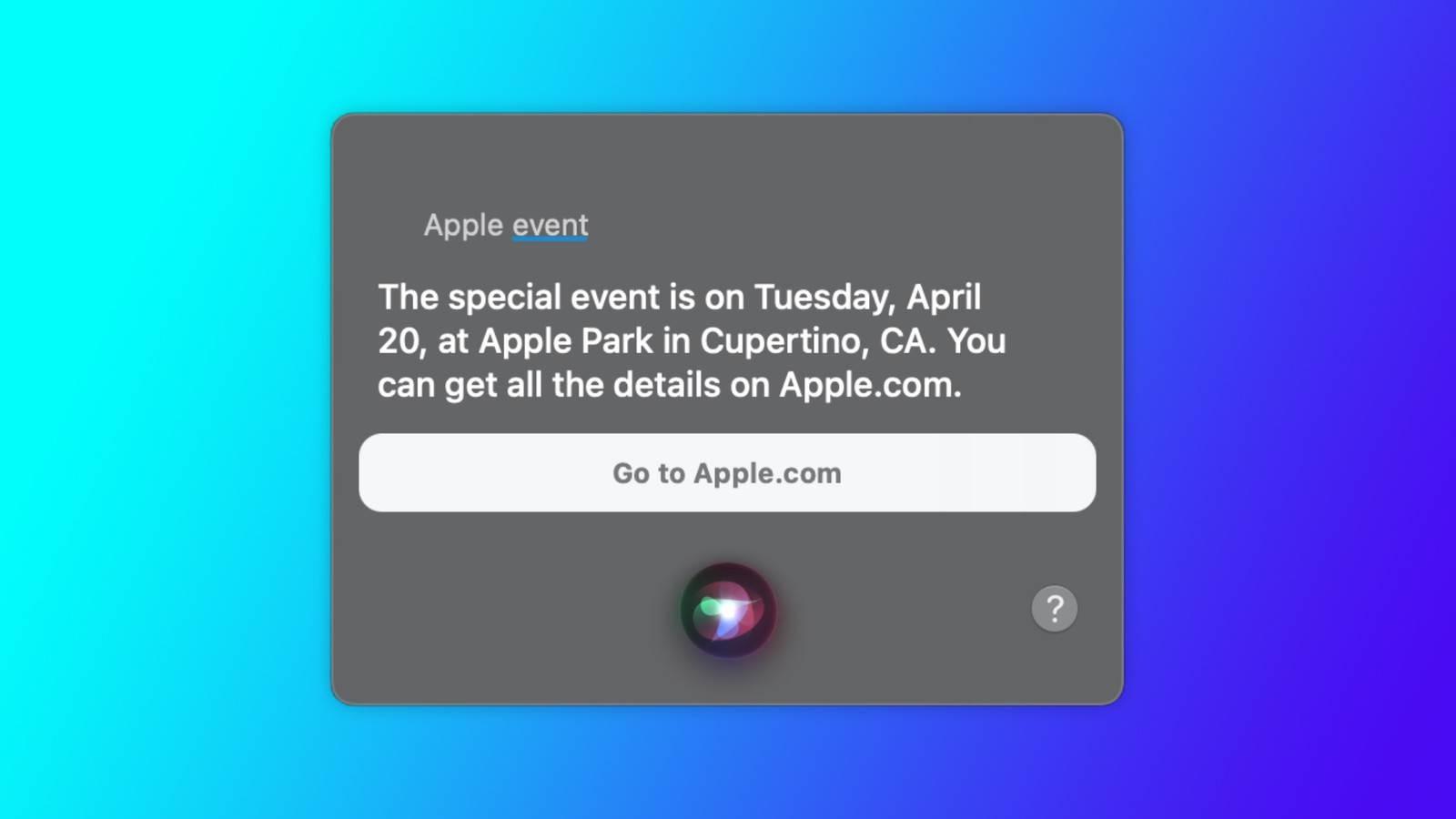 Siri zdradziła datę wiosennej konferencji Apple polecane, ciekawostki wiosenna prezentacja Apple, Siri, konferencja Apple, 2021  Czekacie na wiosenną prezentację Apple? Jeśli tak to mamy dobre wieści. Siri zdradziła datę konferencji na której zobaczymy nowe iPady Pro, AirTag i inne produkty giganta z Cupertino. siir apple event april 20