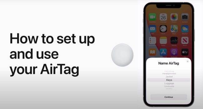 Pierwsze uruchomienie i konfiguracja AirTag polecane, ciekawostki wymiana baterii, Wideo, pierwsze uruchomienie AirTag, Lokalizator, konfiguracja AirTag, jak uruchomić AirTag, Apple AirTag  Lokalizatory Apple trafiły wczoraj do pierwszych właścieli, więc, Apple udostępniło w sieci film pokazujący pierwsze uruchomienie oraz konfigurację AirTag. AirTag 1 650x350